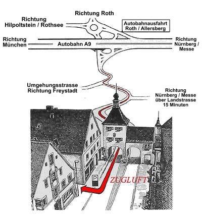 Anfahrt Zugluft-Allersberg